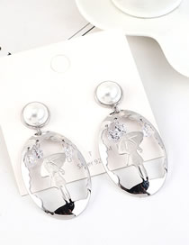 Fashion Platinum S925 Silver-plated Pearl Earrings