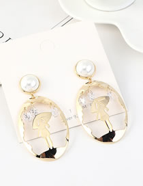 Fashion 14k Gold S925 Silver-plated Pearl Earrings
