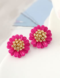 Fashion Red Alloy Small Flower Resin Earrings