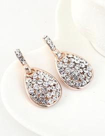 Fashion 14k Gold Drop-shaped Cutout Stud Earrings With Rhinestones