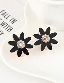 Fashion Black Gold-plated Stud Earrings With Rhinestones And Flowers