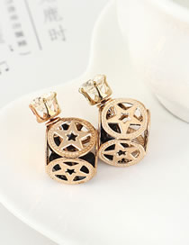 Fashion Black Small Wine Bottle Stud Earrings With Crystal