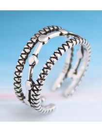 Fashion Silver Distressed Openwork Geometry Ring