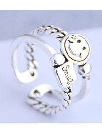Fashion Silver Smiley Letter Openwork Ring
