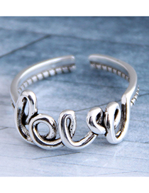 Fashion Silver Letter Cut Open Ring