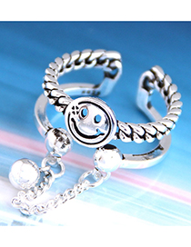 Fashion Silver Chain Hollow Geometric Round Smiley Open Ring
