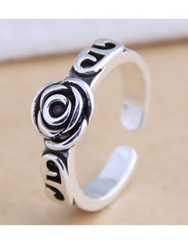 Fashion Silver Rose Flower Alloy Ring