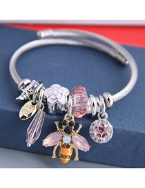 Fashion Pink Diamond Flower Dripping Bee Flower Bracelet
