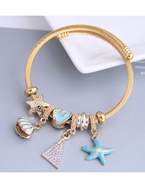Fashion Blue Dripping Oil And Diamond Starfish Shell Alloy Bracelet