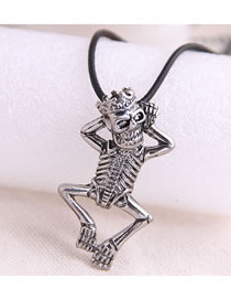 Fashion Silver Skull Alloy Embossed Mens Necklace