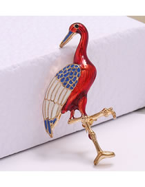 Fashion Red Flamingo Oil Drop And Diamond Contrast Brooch