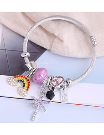 Fashion Purple Rainbow Diamond Drop Love Heart Bangle