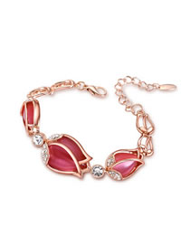 Fashion Red Tulip Opal Alloy Bracelet