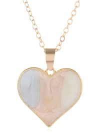 Fashion Pink Love Dropping Alloy Contrast Necklace