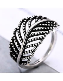 Fashion Silver Hollow Leaf Alloy Hollow Open Ring