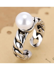 Fashion Silver Pearl Chain Alloy Hollow Open Ring