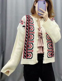Fashion Cream Color Embroidered Single Breasted Sweater