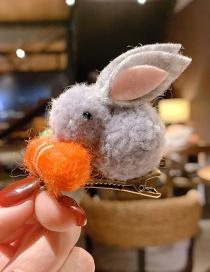 Fashion Gray Plush Hit Color Bunny Child Hair Clip