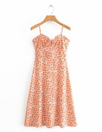 Fashion Orange Small Floral Chest Lace Dress