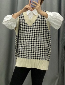 Fashion White Contrast Houndstooth Knit Sweater