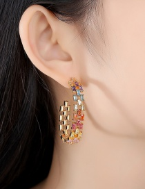 Fashion Gold Color Zirconium Hollow C-type Copper Inlaid Zircon Earrings