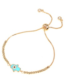 Fashion Golden Gold-plated Brass Oil Drop Hand Geometry Ball Bead Pull Bracelet