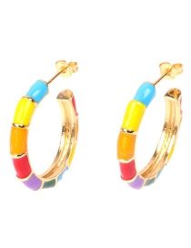 Fashion Color Contrasting Geometric Earrings