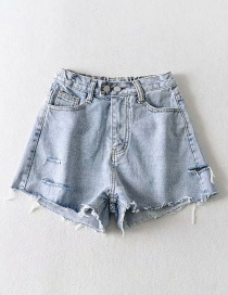 Fashion Blue Washed Ripped Double-button Frayed Denim Shorts