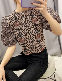 Fashion Khaki Puff Sleeves Jacquard Pullover Sweater Sweater
