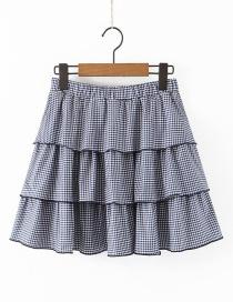Fashion Tibetan Blue Plaid Printed Layered Ruffled Pleated Skirt