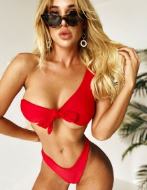 Fashion Red One-shoulder Chest Knot Split Swimsuit