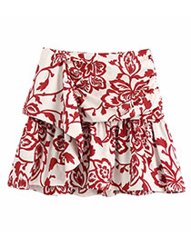 Fashion Photo Color Floral Print Pleated Ruffled Skirt