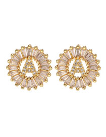 Fashion Alphabet Golden Round Diamond Earrings With Rhinestone Alloy Letters