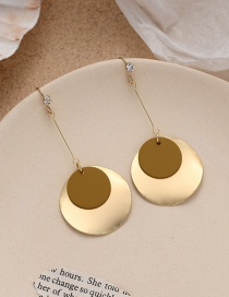 Fashion Yellow Disc Frosted Long Geometric Alloy Earrings