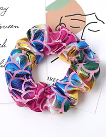 Fashion Pink Color Fish Scale Pattern Laser Fabric Bowel Hair Rope