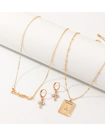 Fashion Golden Diamond Cross Letter Necklace Set
