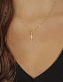 Fashion Golden Cross Alloy Necklace