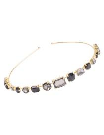 Fashion Black Alloy Diamond-shaped Geometric Thin-edged Hair Hoop