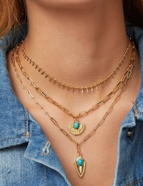Fashion Golden Alloy Turquoise Geometric Multilayer Necklace