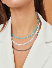 Fashion Blue And White Alloy Contrast Multi-layer Necklace