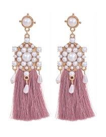 Fashion Leather Pink Alloy Pearl Pendant Tassel Earrings