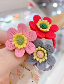 Fashion Fuchsia Red Flower Resin Contrast Color Flower Children Rubber Band Set