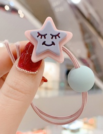 Fashion Light Pink Shy Expression Pentagram Hit Color Knotted Hair Rope