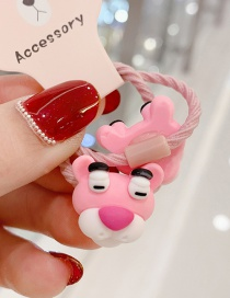 Fashion Pink 1 Pair Pink Naughty Leopard Hit Color Resin Children Rubber Band