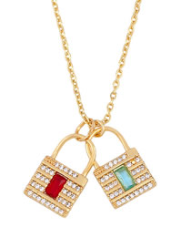 Fashion Golden Crystal Lock Alloy Necklace With Diamonds