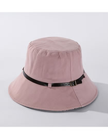 Fashion Light Pink Solid Color Leather Trimmed Plaid Fisherman Hat