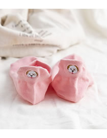 Fashion Pink Heel Puppy Embroidered Cotton Socks
