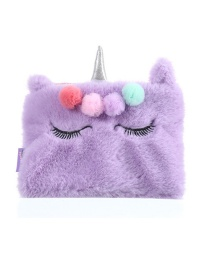 Fashion Violet Unicorn Plush Eyelash Pencil Case