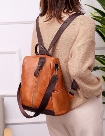 Fashion Brown Multifunctional Backpack With Zipper And Contrast Stitching