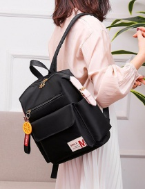 Fashion Black Contrasting Contrasting Letter Logo Flower Zipped Backpack